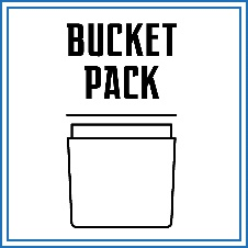 محصولاتی که می بایست در داخل سطل (باکت) قرار گیرند، می بایست توسط این روش بسته بندی گردند. معمولا سطل ها دارای ارتفاع بالا هستند.